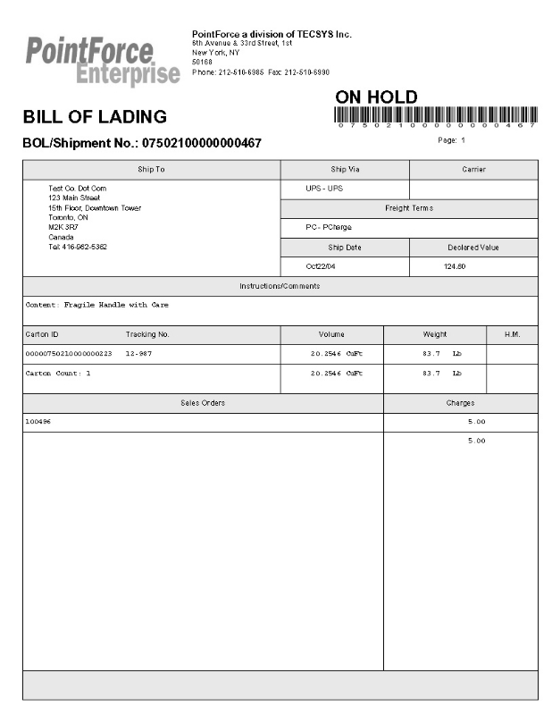 Doc675931 Standard Bill of Lading Form Bill Of Lading – Standard Bill of Lading Form