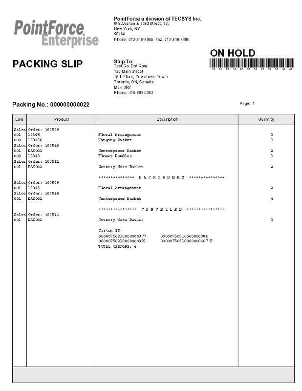 PS30 Packing Slip